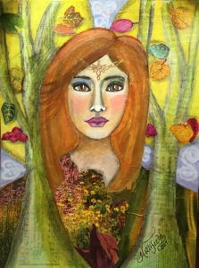 Mixed media painting of Celtic woman