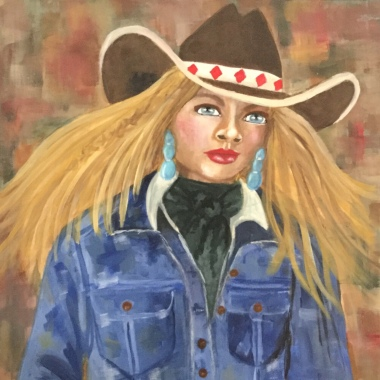 Cowgirl in acrylic by Hollifield