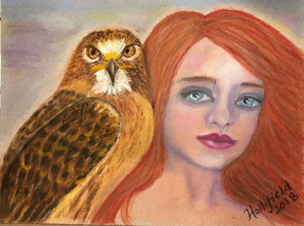 Girl and hawk original by Suzanne Hollifield