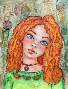 Irish girl watercolor Hollifield